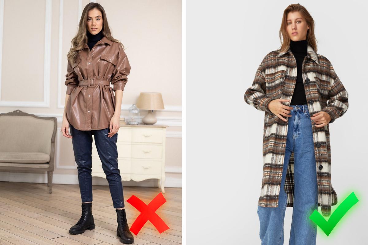 На фото справа пример правильного использования рубашки как второго слоя в образе