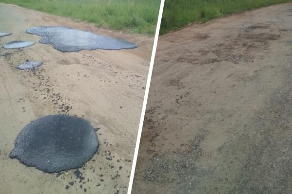 Власти не знают, кто заделал асфальтом ямы на грунтовой дороге