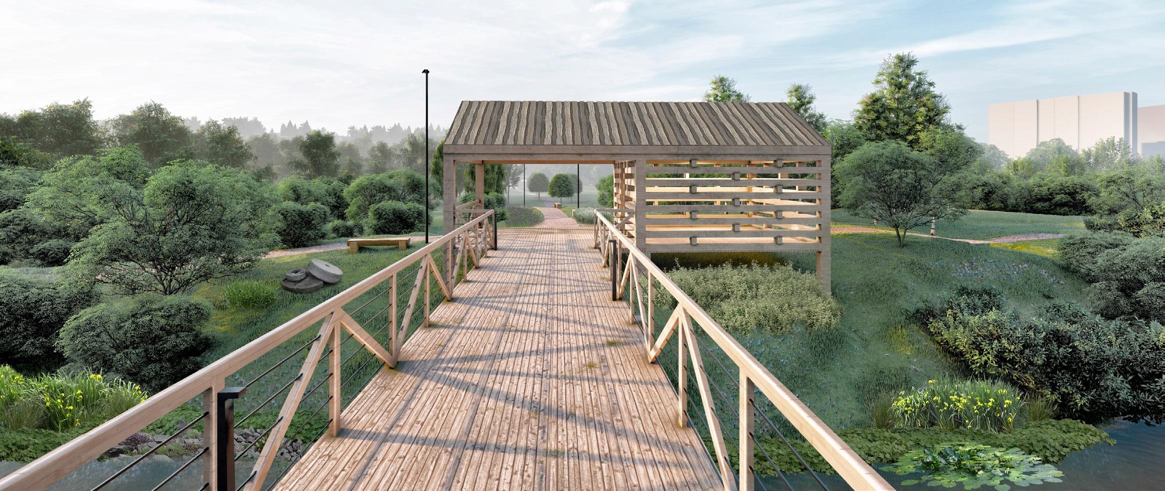 Павильон «Мельница» будет служить защитой от дождя и солнца. В нём же можно будет разместить материалы об истории Каменки, в том числе о водяных мельницах, которые работали здесь больше века назад