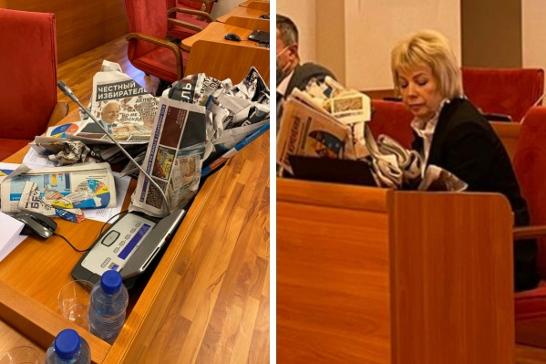 Сергей Хабибулин вывалил на стол Ларисе Ушаковой предвыборные газеты с чернухой