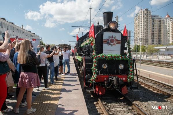 """«Воинский эшелон» остановился на станции <nobr class=""""_"""">Волгоград-1</nobr>"""
