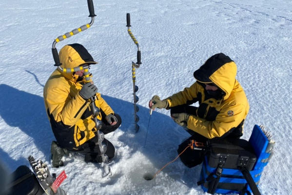 Рыбаки не замерзли благодаря тому, что приходилось бурить много лунок