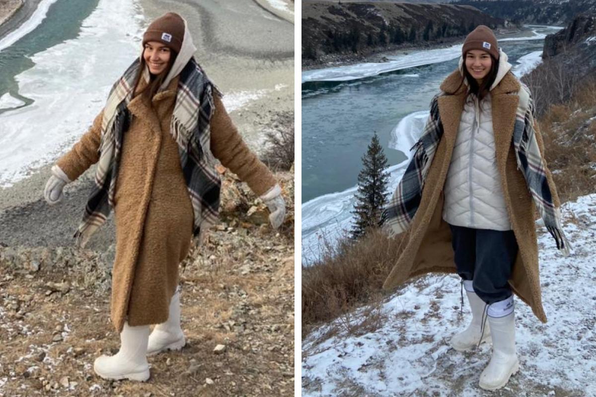 Белые сапоги Марии отлично подходят для зимних поездок за город или на Алтай