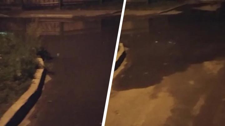 Во Втузгородке фонтан забил посреди дороги. Вода разливается по дворам