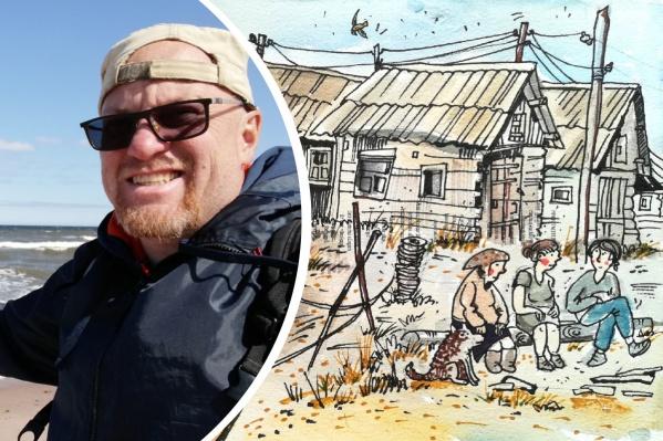 Дмитрий пообщался с местными жителями и посвятил им свои рисунки