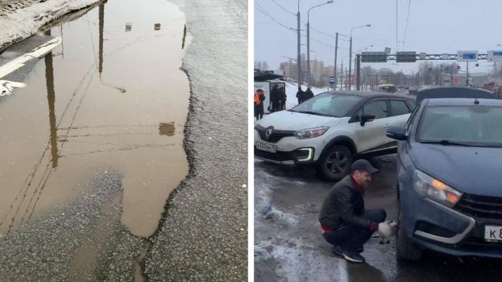 В Ярославле в яму на дороге попали пять машин подряд