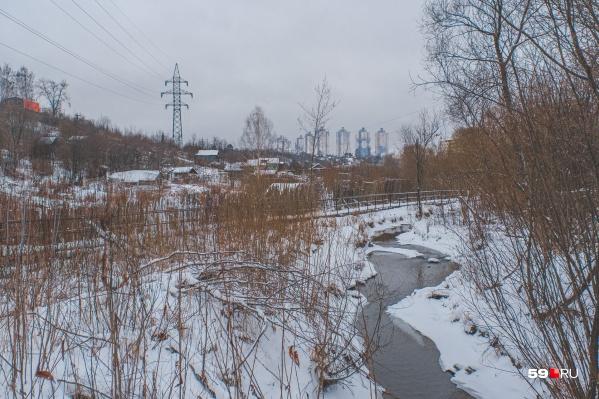 Речка Егошиха неподалеку от впадения в Каму