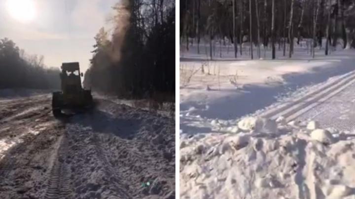 Дорожники разрушили лыжню под строительство парковки для «Лыжни России»— работы попали на видео