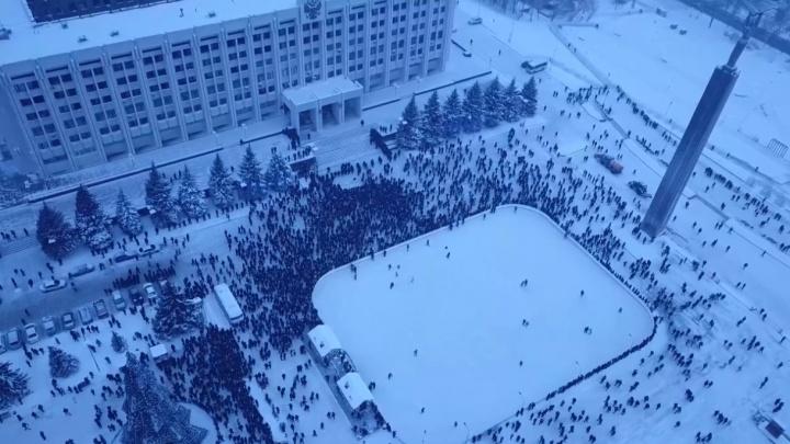 Акция Навального сверху: появилось видео площади Славы, снятое с коптера