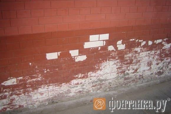 кирпичный принт на стене Петропавловки.