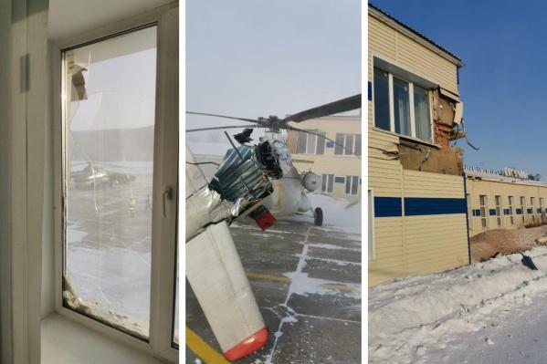 Вертолет повердил три здания и еще один вертолет