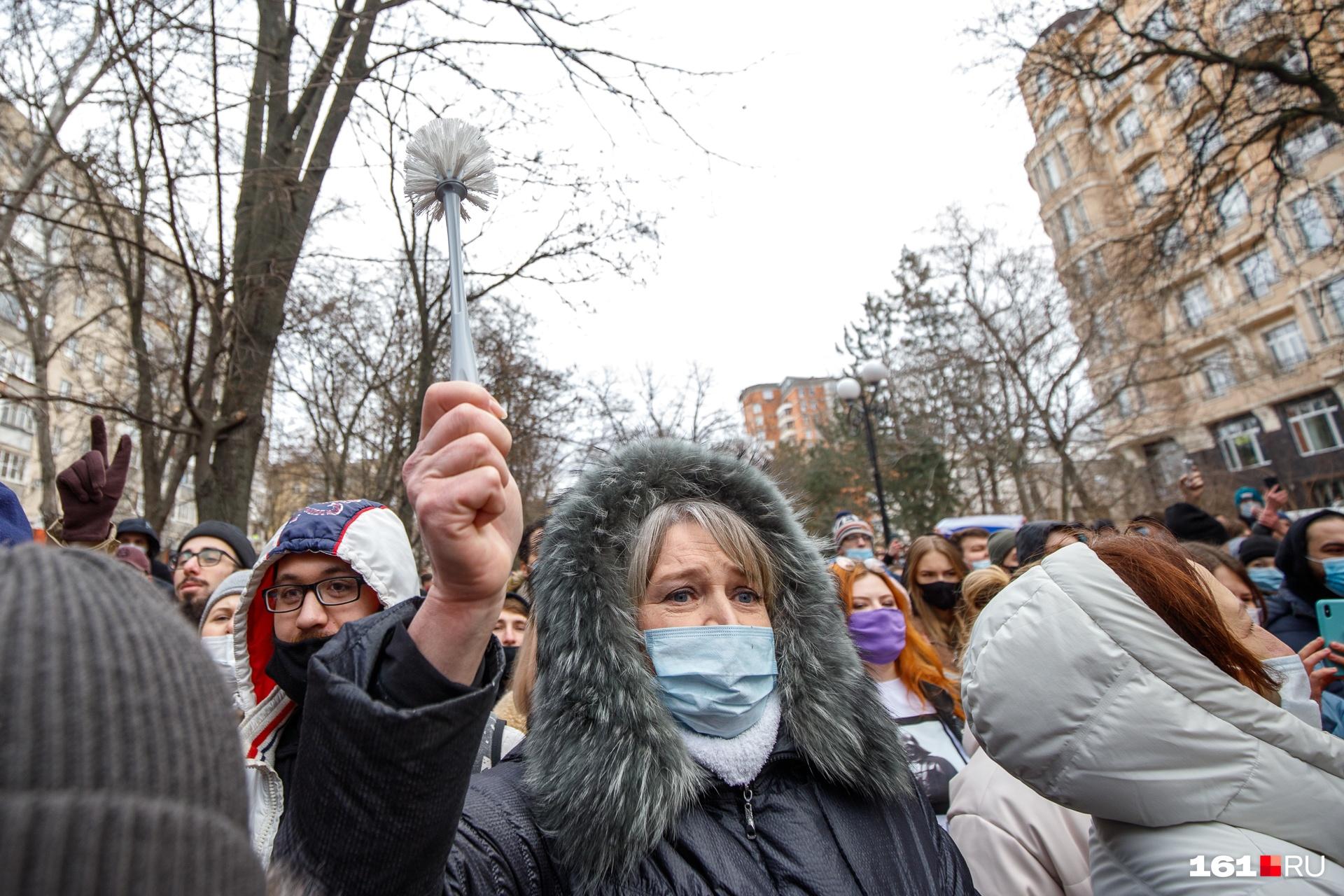 Некоторые митингующие пришли с ершиками