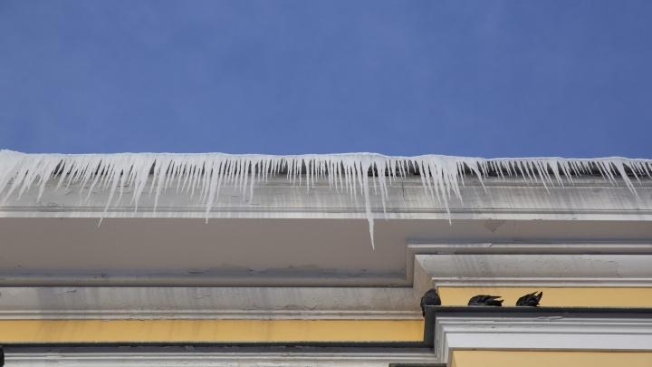Опасность нависла над головой: в Ярославле на крышах центральных зданий выросли метровые сосульки