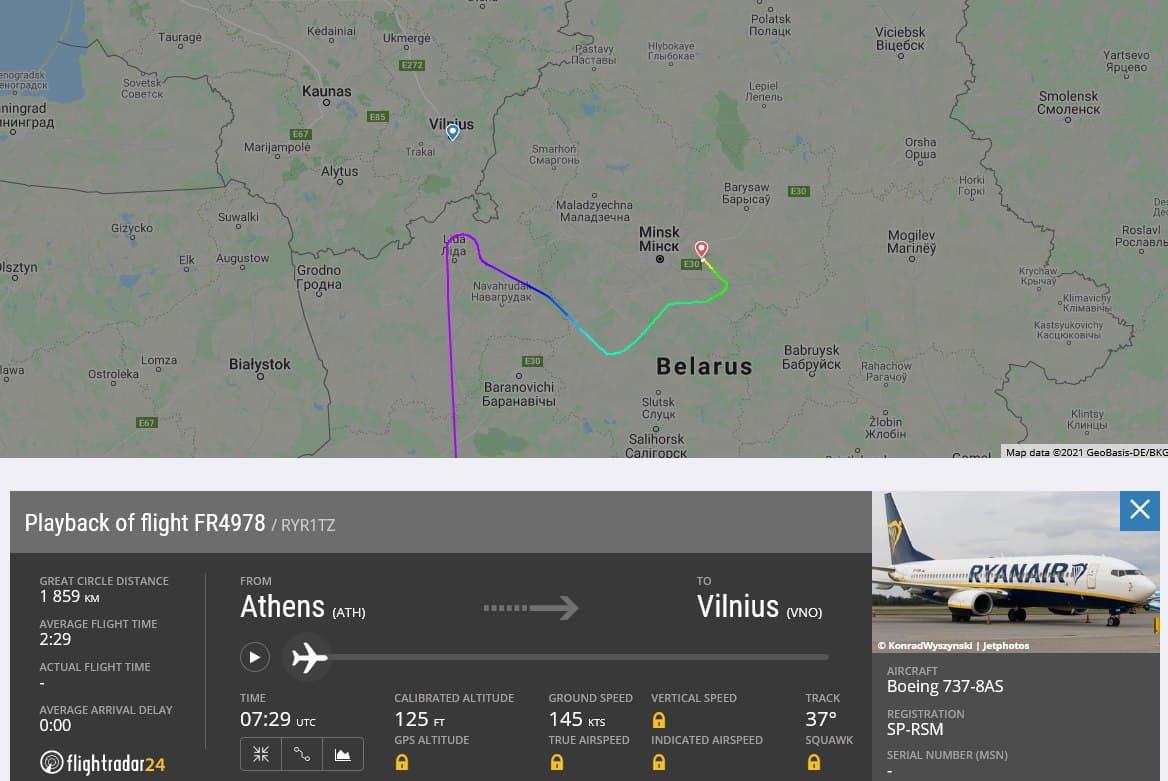 Траектория полета рейса Ryanair FR4978 23 мая 2021 года