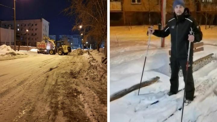 «Наши парки не Красная площадь»: челябинский депутат прокатился на лыжах по тротуарам и скверам