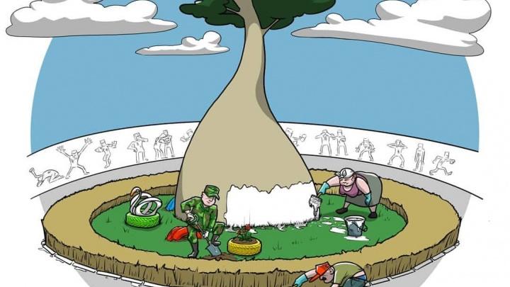 Побелка и лебеди из шин. Художник изобразил классический субботник в парке «Краснодар»