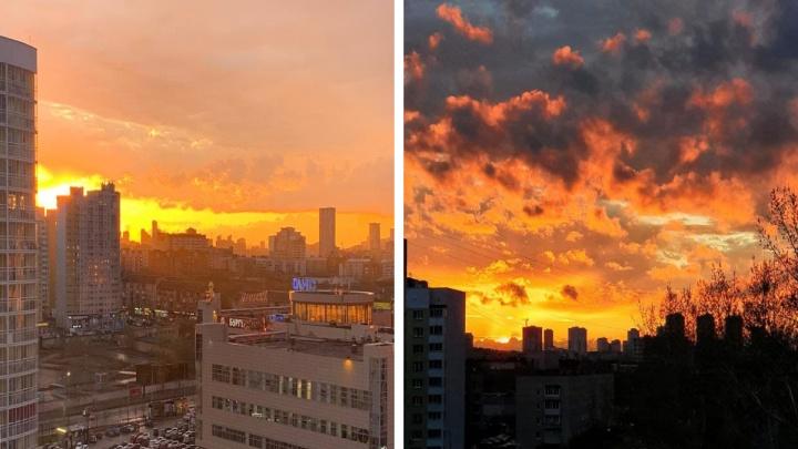 «Хочу, чтобы все увидели эту красоту!» Читатели E1.RU запечатлели фантастический закат над Екатеринбургом