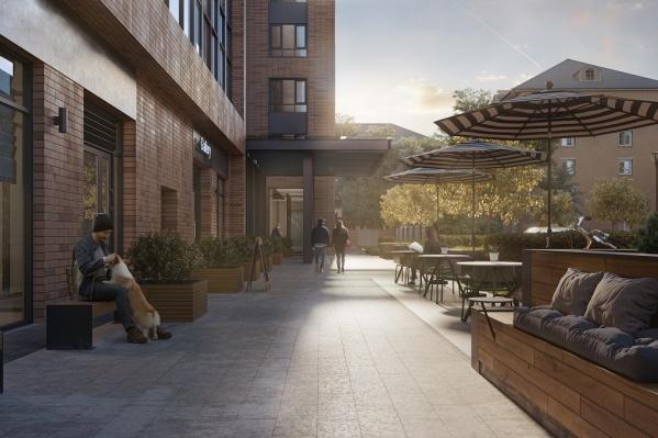 На первом этаже дома запроектированы магазины и кафе, которые разнообразят инфраструктуру микрорайона