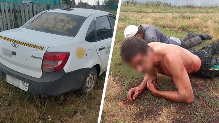 В Башкирии двое мужчин убили таксиста, угнали его машину и попали на ней в ДТП. Есть видео их поимки