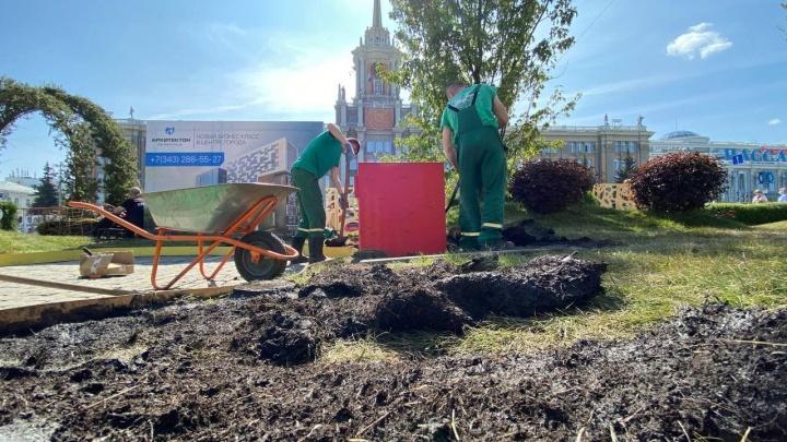 Сломали даже детский кораблик. Горожане за выходные разнесли сад на площади 1905 года