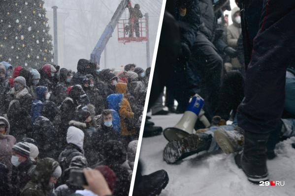 Изначально люди собрались на площади Ленина, после чего дошли до площади Профсоюзов<br>