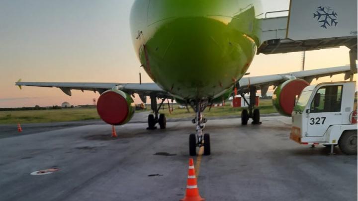Авиакомпания S7 объяснила, почему самолет снес мачту в аэропорту Толмачево