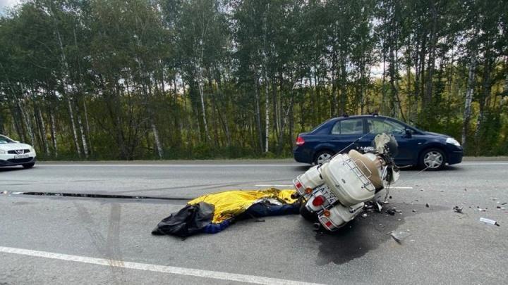 На трассе М-5 в Челябинской области погиб мотоциклист-бесправник