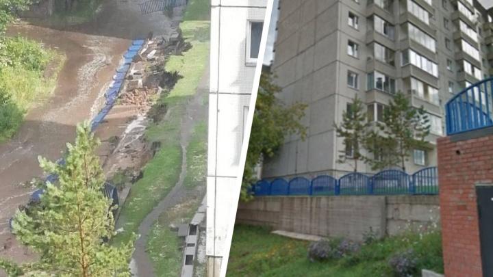 Подпорная стена на Попова рухнула после дождя