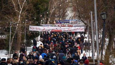 Шествие по грязи и тонкому льду: видеорепортаж 161.RU с акции протеста 23 января