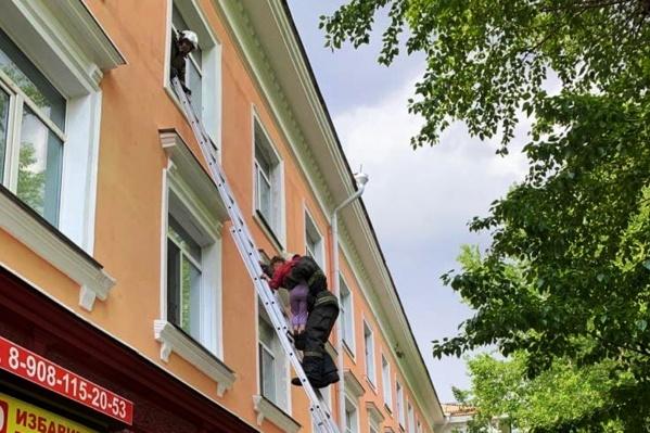 Сотрудники ППС вызывали пожарных, которые сняли девочку с окна