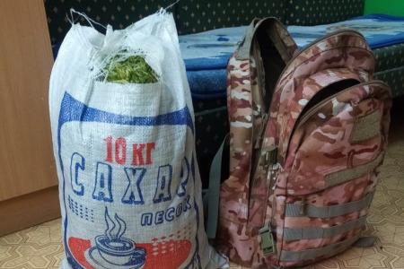 Мешок конопли мужчина вез в рюкзаке