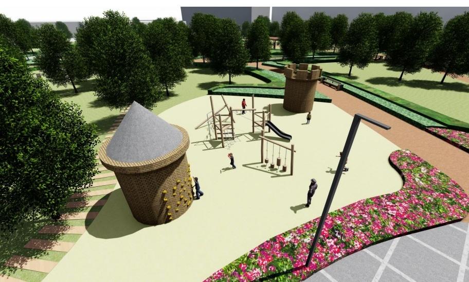 Вариант обустройства детской площадки в саду имени Энгельса