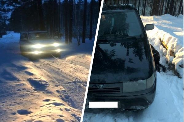 Несколько молодых людей четыре часа не могли выбраться из леса: их авто застряло в снегу