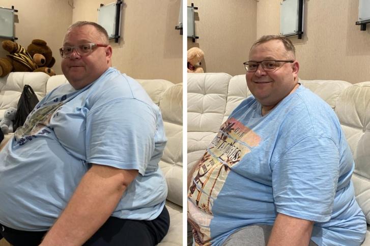 «Разница не очень заметна», — говорит Ольга, жена Константина. Между тем на первом фото (сентябрь 2020 года) вес мужчины составляет 250 килограммов, а справа (январь 2021-го) — 198 килограммов