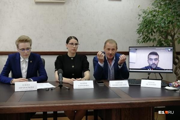 Антон Истомин (справа), заболел Covid-19 и присутствовал по видеосвязи