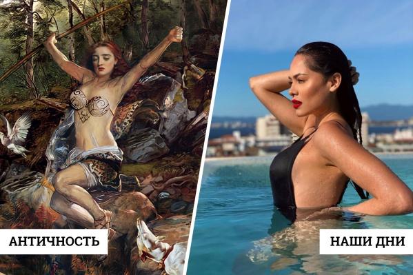 """На фото слева — греческая героиня Аталанта, которая, помимо прочего, являлась эталоном женской красоты и силы; <nobr class=""""_"""">справа —</nobr> мисс <nobr class=""""_"""">Вселенная — 2021</nobr> Андреа Меса"""