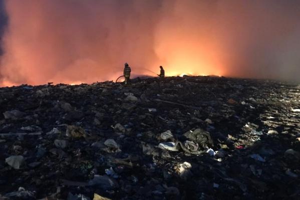 Пожар тушат 10 спасателей, на место прибыли два бульдозера и три поливомоечные машины