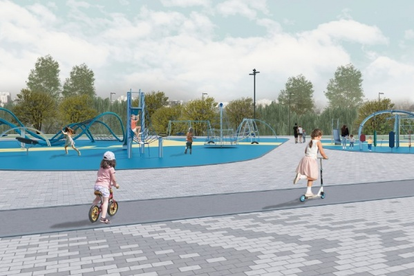 На территории будущего парка разместят городские тренажеры, памп-трек, волейбольно-баскетбольную площадку и скейт-парк