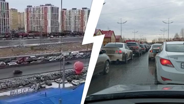 Дорожный коллапс на объездной — тюменцы полтора часа стояли вутренней пробке