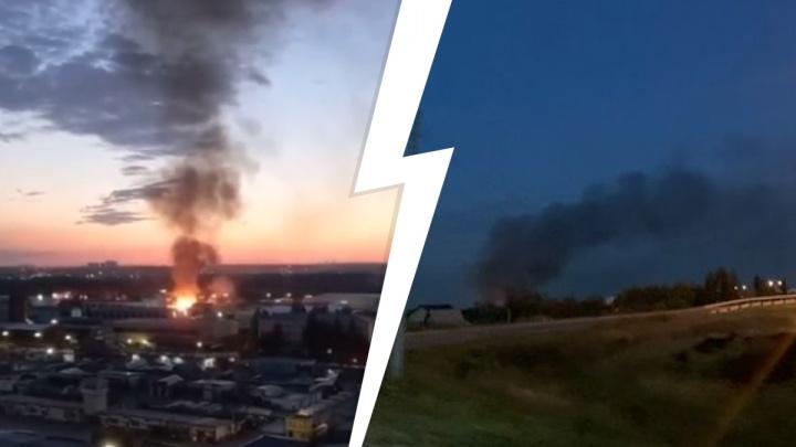 «Огонь видно на уровне десятого этажа»: на заводе гражданской авиации в Екатеринбурге крупный пожар