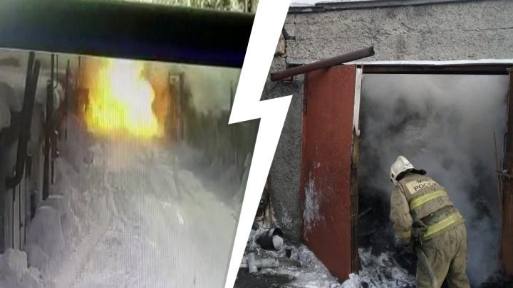 «Стена рухнула, железные ворота вылетели»: мощные взрывы в гараже на Северном Урале попали на видео