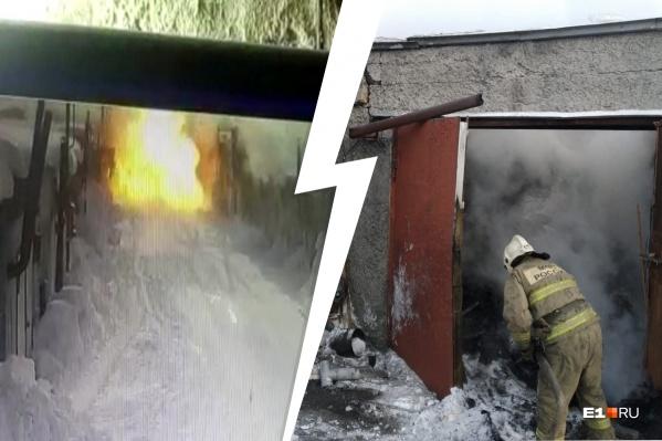 Удар был такой силы, что стена между гаражами рухнула