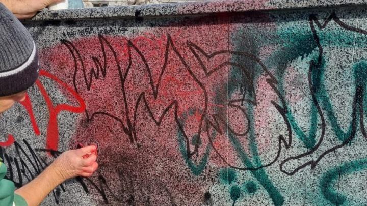 В центре Ростова начали очищать скульптуры львов от въевшихся в гранит граффити