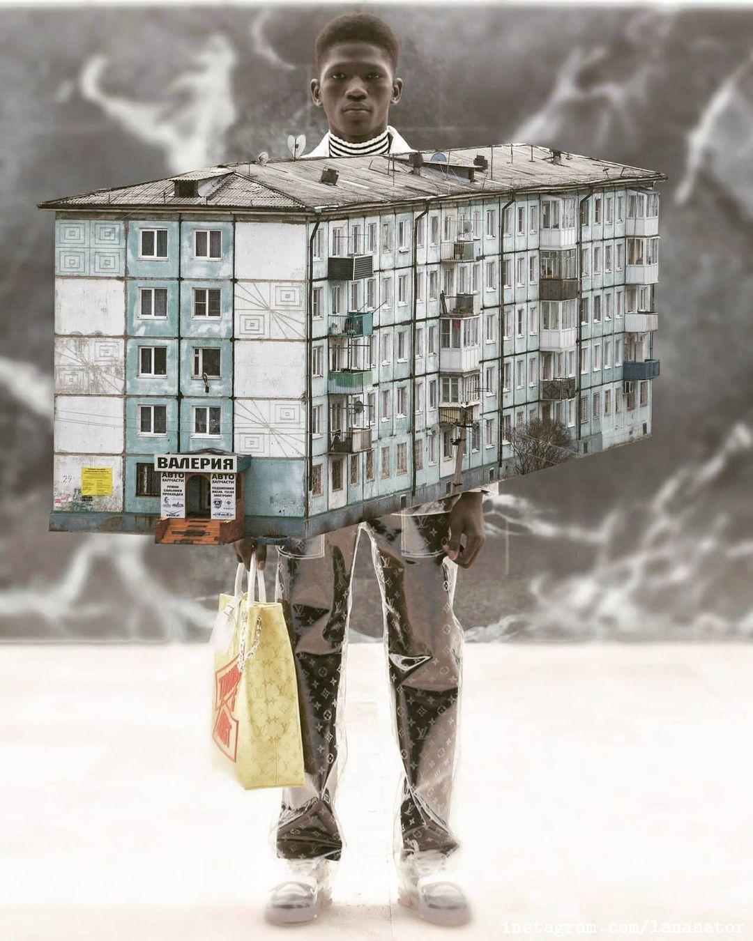 Панельная пятиэтажка. К этому коллажу Лана сделала приписку: «Любой город России»