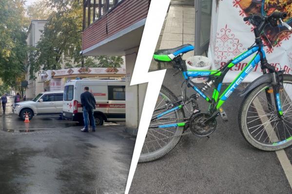 Ребенок-велосипедист врезался в машину