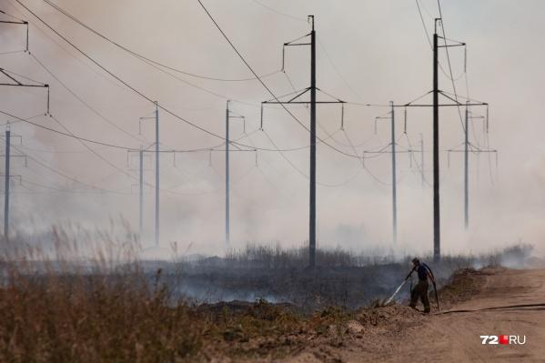 Очаг возгорания начался с дороги рядом с высоковольтными столбами