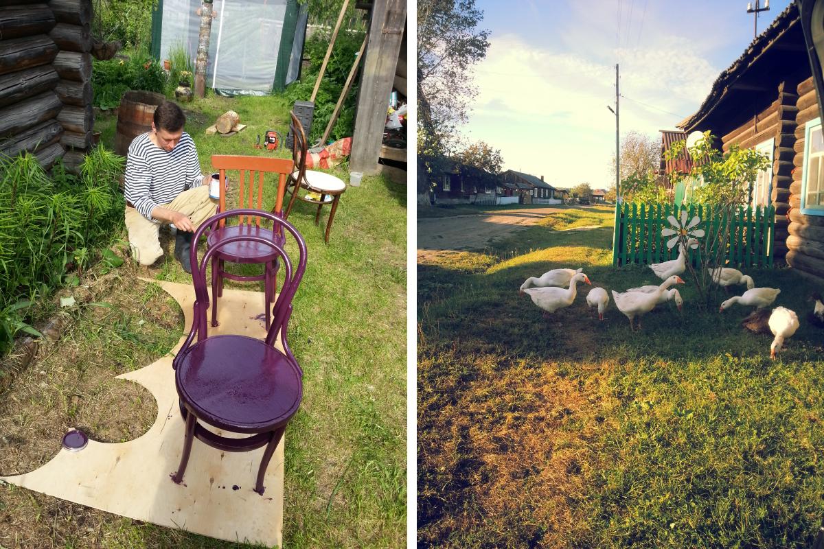 Старинные стулья тоже перекрасили, обновили, так сказать. Для этого Андрей выбрал сочный ягодный оттенок