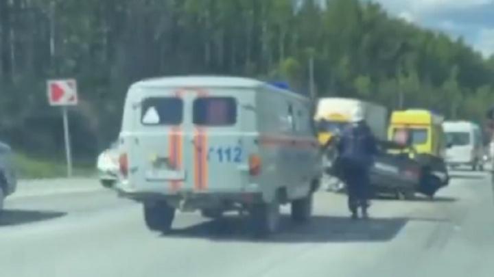 Момент лобового ДТП на трассе под Ревдой попал на видео