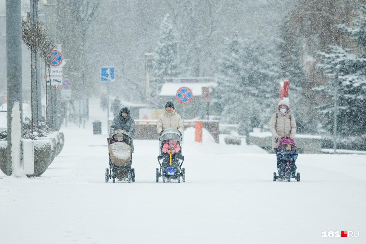 Мамочки ждали снега очень долго, чтобы прогулять своих малышей