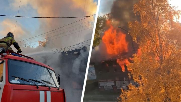 «Открыли окно — горит дом»: архангелогородец снял на видео крупный пожар у жилых «деревяшек»